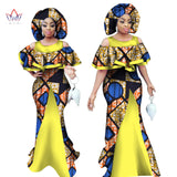 African Maxi Dress for Women Sleeveless Dashiki Print Mermaid Dresses Africa Style with Headscarf