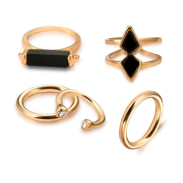 5 PCS Ring Set Punk Silver Color Stone Rings For Women/Men Bead Finger Gold Color - Bara Jan Store
