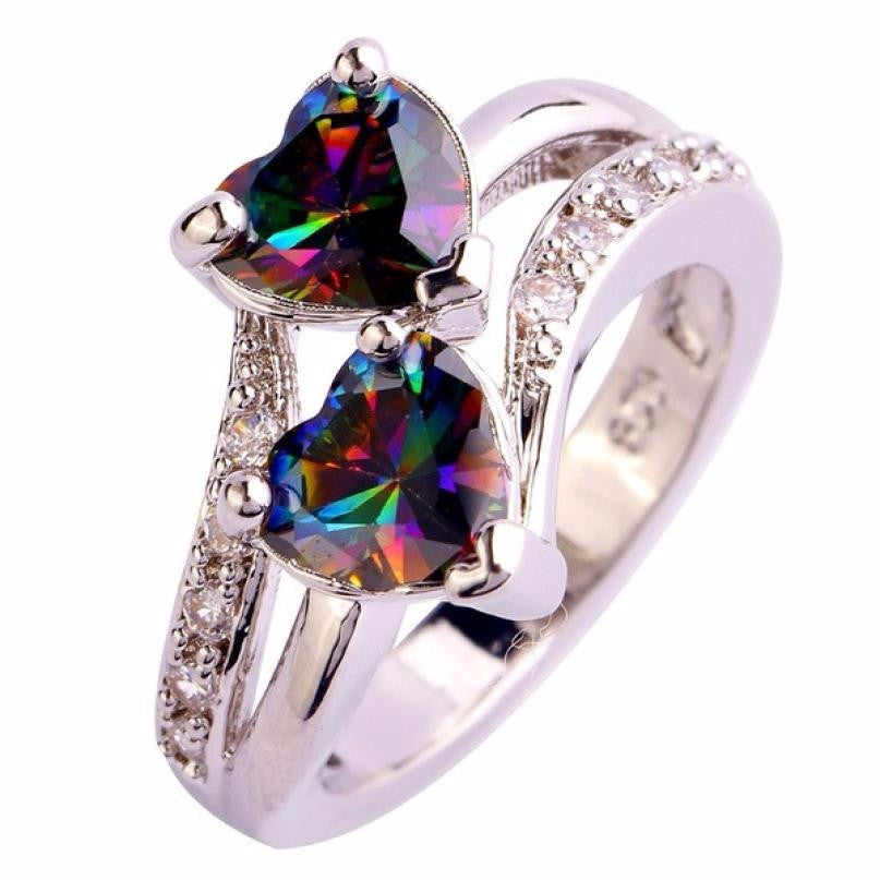 Fashion Lover Jewelry Heart Cut Rainbow & White Gemstone Silver Ring