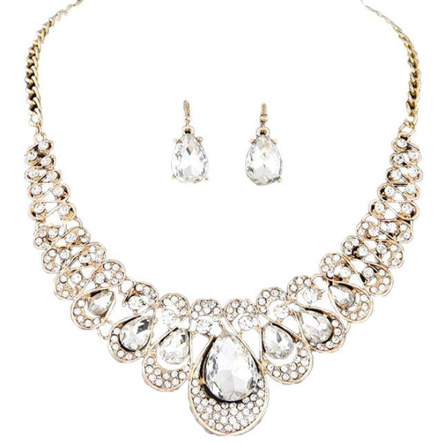 Metal flash drill collar necklace earring set Mixed Style - Bara Jan Store