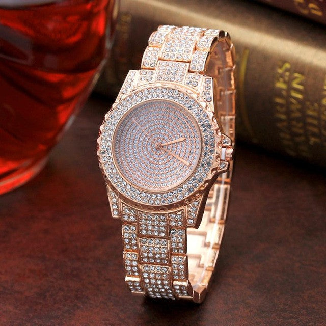 Fashion Diamond Sand Drill Surface Women Watches Gold Sliver Stainless Steel - Bara Jan Store
