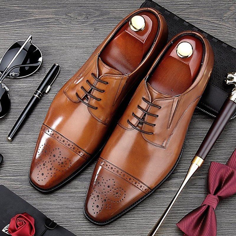 British Style Carved Man Brogue Shoes Vintage Genuine Leather Formal Dress Oxfords Pointed Toe