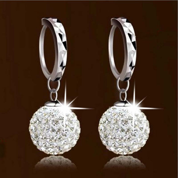 Unique Womens white gold filled white Clear crystal charming hoop ear