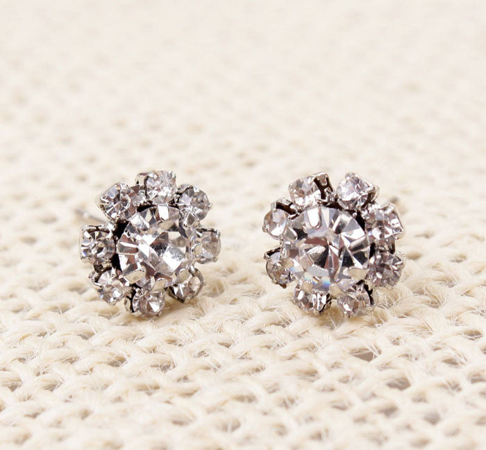 Womens Beautiful Shining Spherical Crystal Flower Earrings