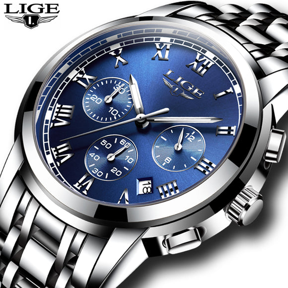 Men Luxury Brand LIGE Chronograph Men Sports Watches Waterproof Full Steel Quartz Men's Watch Relogio Masculino