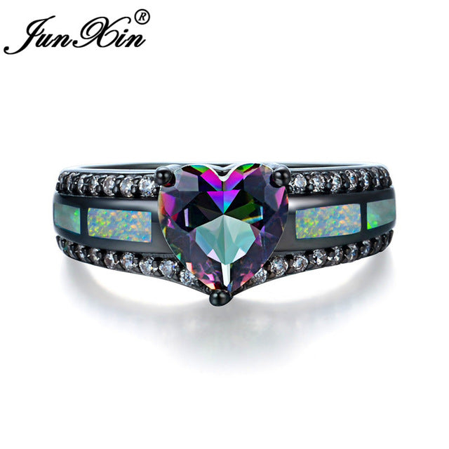 Charm Multicolor Heart Zircon Blue/White/Pink Fire Opal Rings Fashion Black Gold