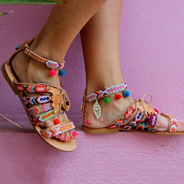 Plus Size 34-43 Ethnic Bohemian Summer Woman Pompon Sandals Gladiator