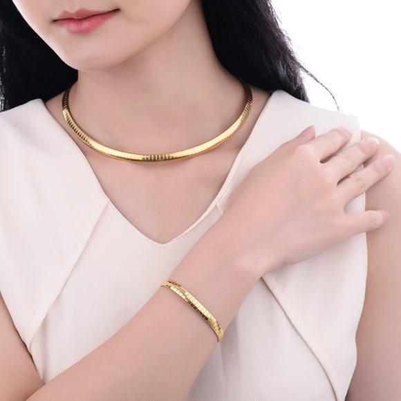 Baoyan Fashion 316L Stainless Steel Snake Chain Gold Color Choker Necklace and Bracelet Jewelry Sets