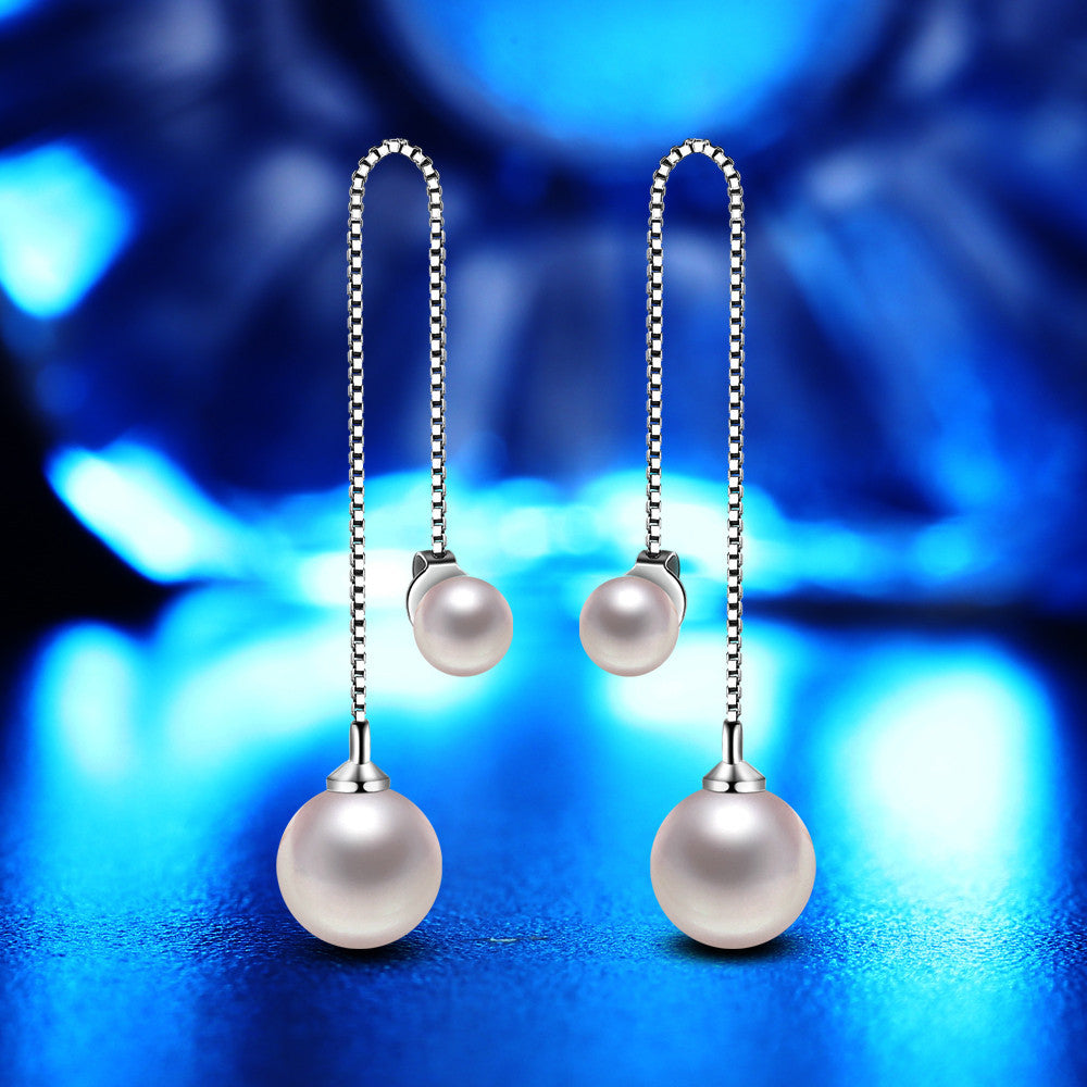 Women's Elegant Silver Plated Pearl Drop Long Chain Tassel Earrings