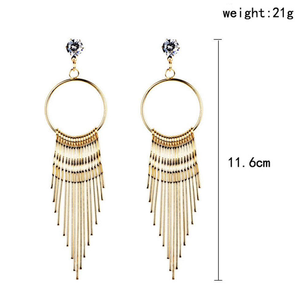 Fashion Women Dangle Tassel Earring Crystal Earrings Eardrop Hoops