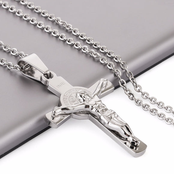 INRI Jesus Piece Cross Necklaces & Pendants for Women Stainless Steel Chain