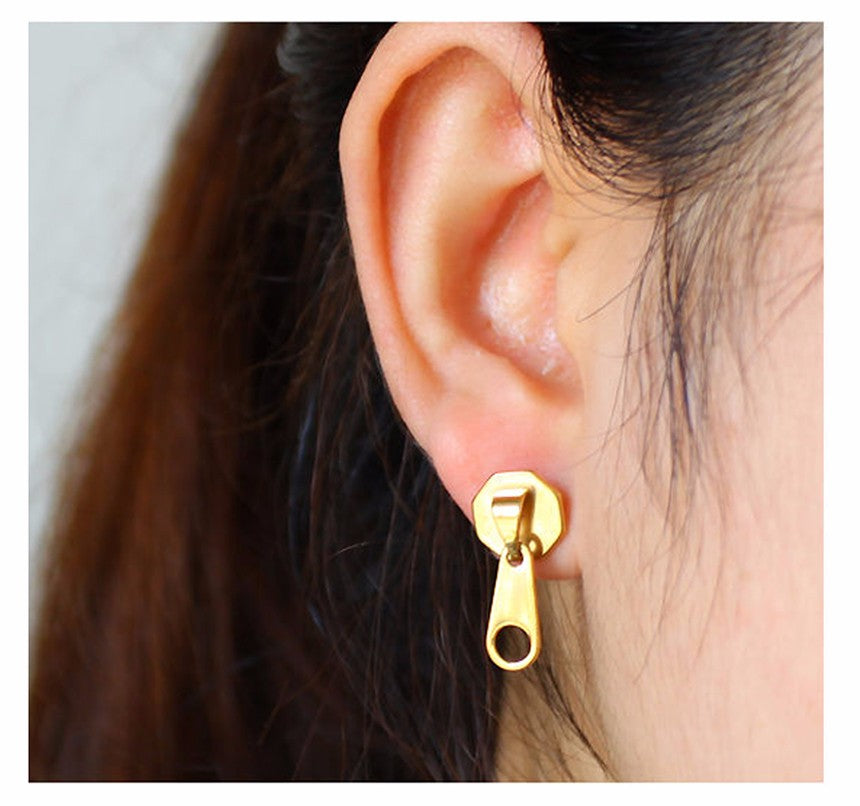 Punk Rock Zipper Earrings Tools Stud Stainless Steel Tragus Cartilage Women Men Body Jewelry