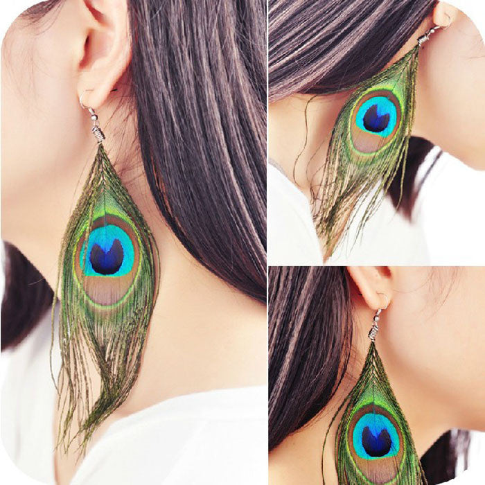 Style Peacock Feather Silvery Hook Women''s Dangle Earrings Eardrop