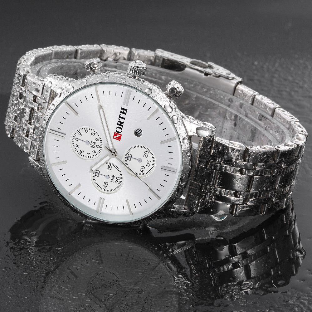 North Calendar Quartz Wrist Watch Stainless Steel - Bara Jan Store