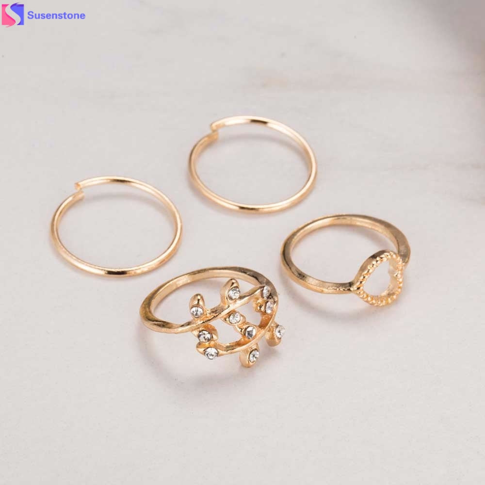 Yang Fashion Gold Leaf Heart Joint Knuckle Nail Ring Set of Four Rings - Bara Jan Store