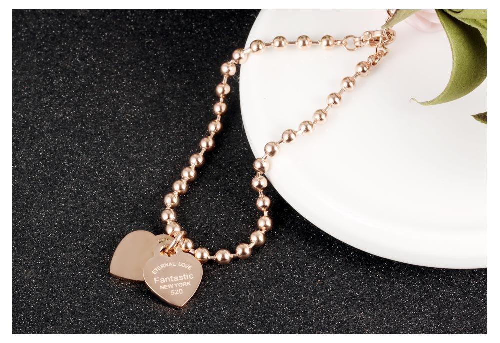 Hot Sale Fashion Women Party Jewelry Rose Gold-color Double Heart Pendant Bracelet