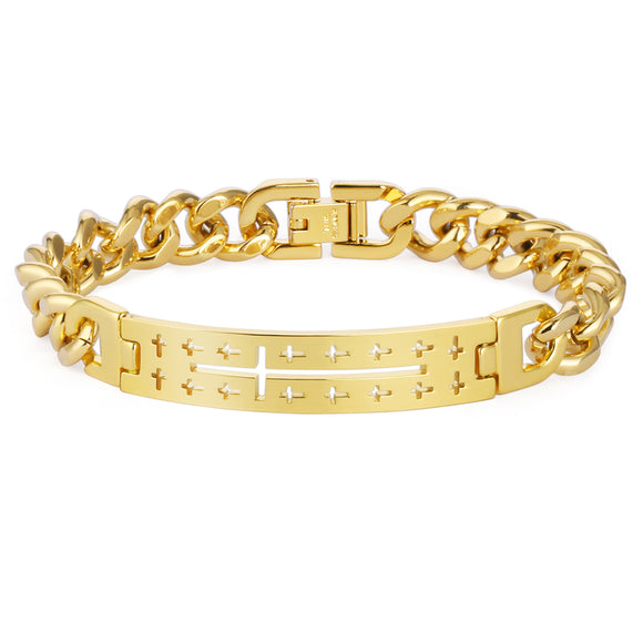 Hollow Cross Chain Bracelet Men Hiphop Jewelry Gold Color Stainless Steel Cuba Link Chain