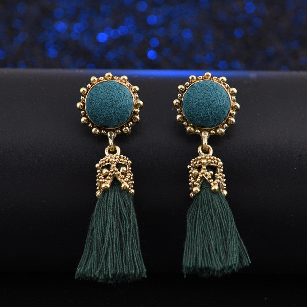 Vintage Style Rhinestones Crystal Tassel Dangle Earrings