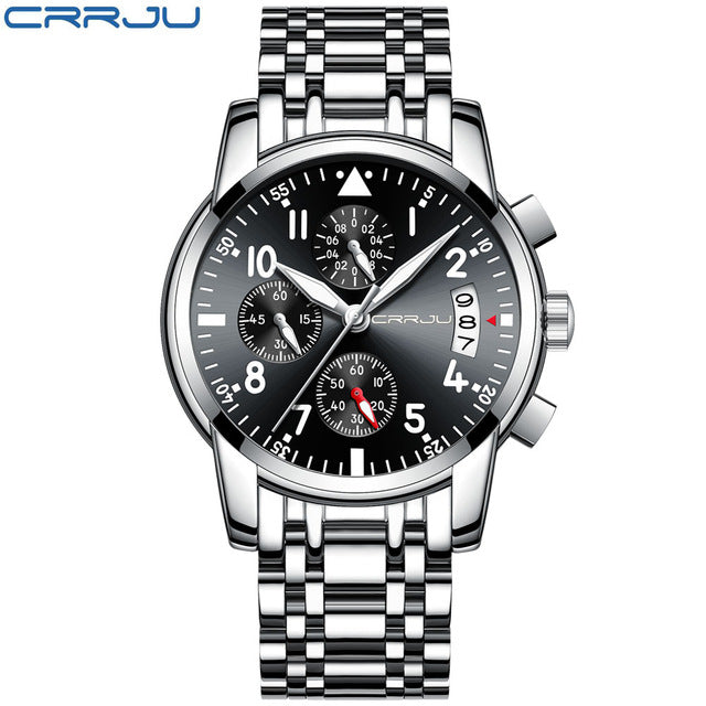 Chronograph Brand Fashion Men's Blue Multifunction Dial Watches for Male Luxury Silver Stainless Steel Strap Wristwatches