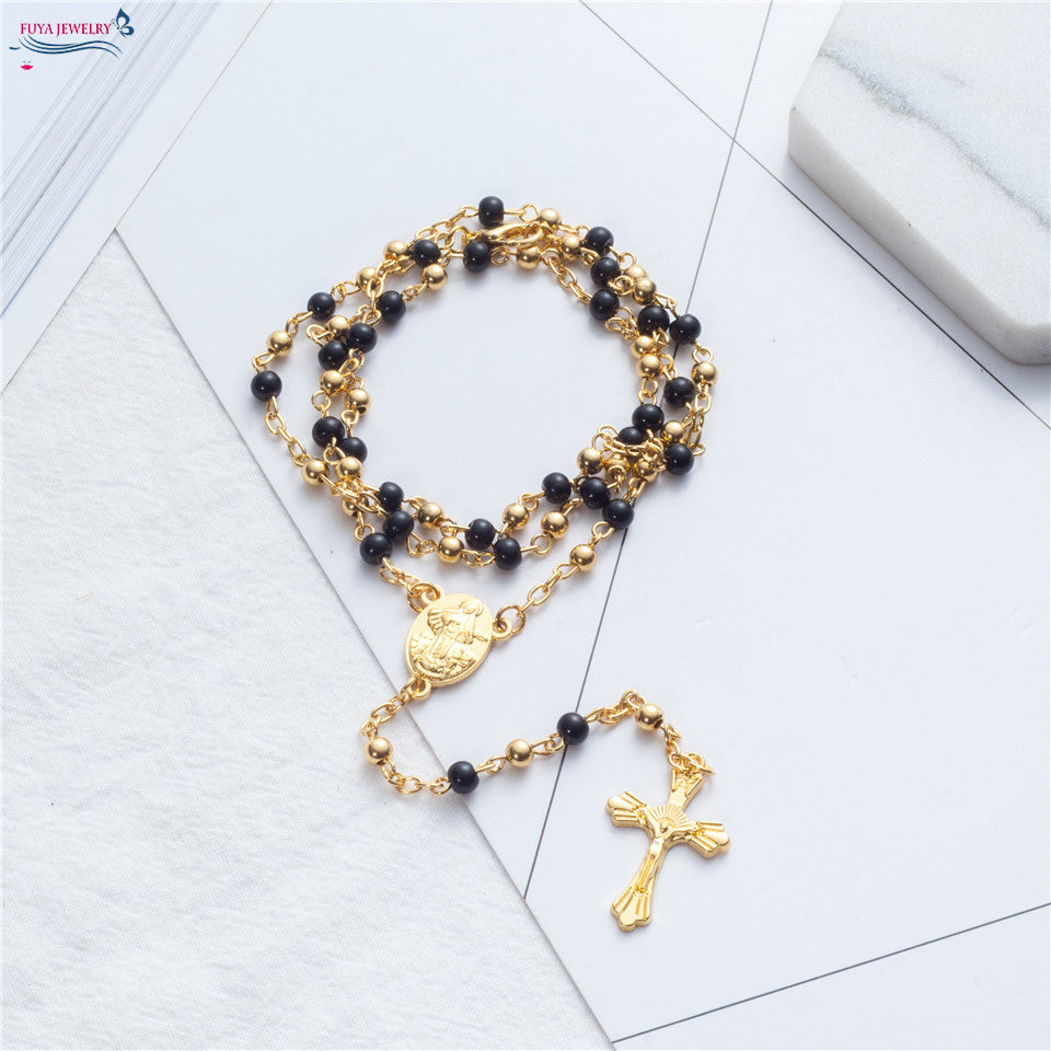 Rosary necklace Jesus christ cross pendant necklaces Alloy bead long chain mens women