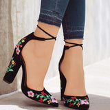 41 Size Embroider Women Pumps High Heels Pointed Toe Lace up Cross-tie Women High Heels