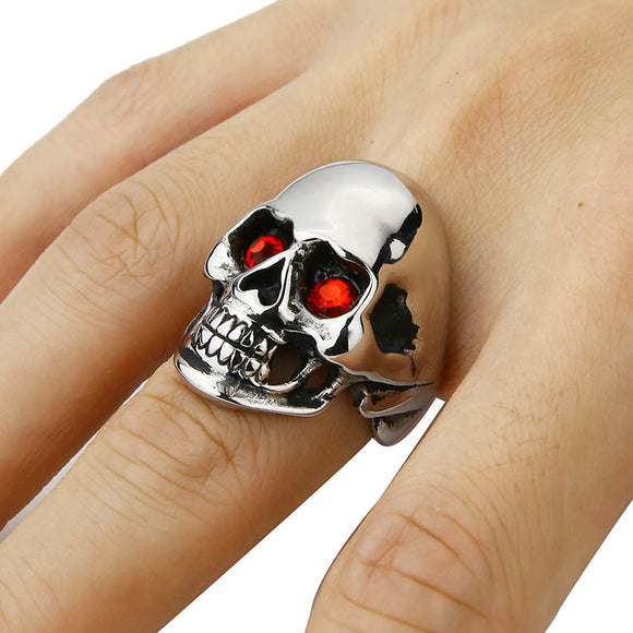 Men's Solid Skull Ring Gothic Punk Biker Rider Red/Blue Eyes Ring Stainless Steel Skeleton
