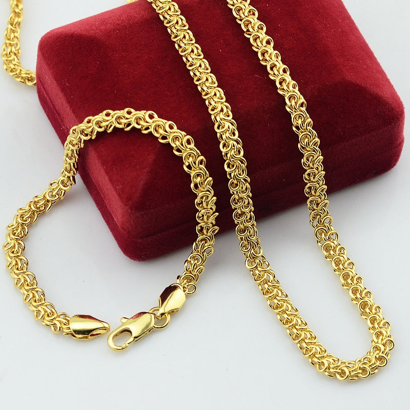 Fashion Long Men Women Unisex Yellow Jewelry Set  Yellow Gold Filled Plated Chain Necklace Bracelets Set