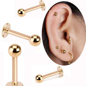 2 Piece Gold Labret Ring 16G Spike ball surgical Stainless Steel ear body piercing jewelry lip rings