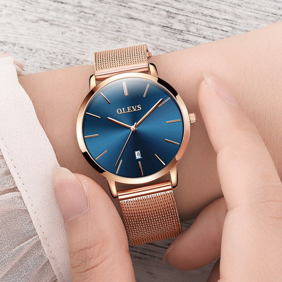Genuine watch OLEVS Brand Luxury Women Watches Waterproof Business Rose Gold Stainless Steel