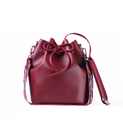 Women bag with Colorful Strap Bucket Bag Women PU Leather Shoulder Bags Brand Designer