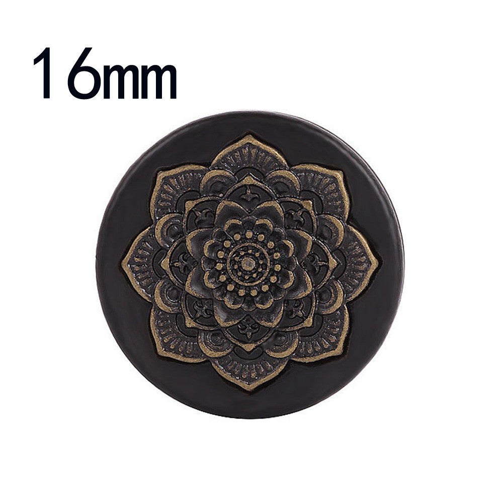 Black Wood Datura Flowers Tunnel Ear Plug Only Ornate Copper Piercing Jewelr