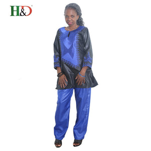 African Traditional set riche bazin embroidery design lady top with pants