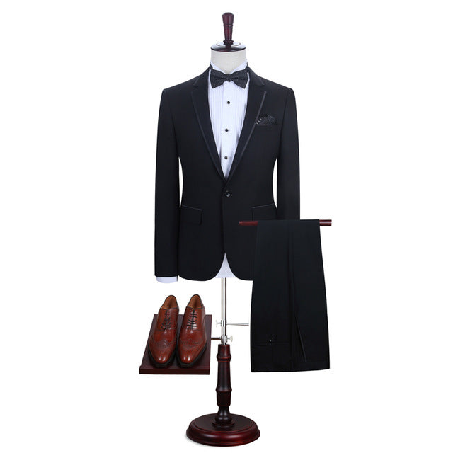 Fashion Men Suit Brand Men's Blazer Business Slim Clothing Suit Jacket and Pants