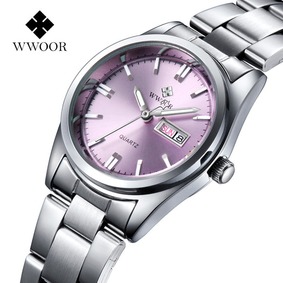 Relogio Feminino Date Day Clock Female Stainless Steel Watch Ladies Fashion Casual Watch Quartz