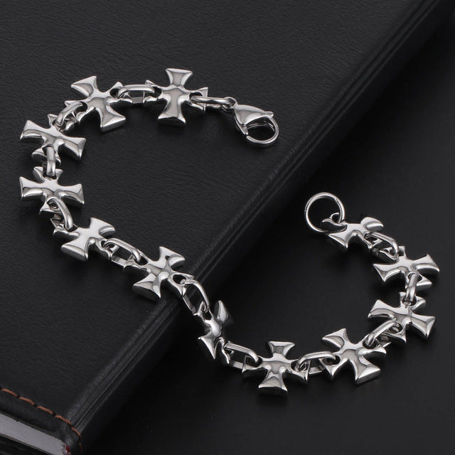 Hiphop Bracelet for Men Stainless Steel Punk Cross Chain Bracelets Fashion