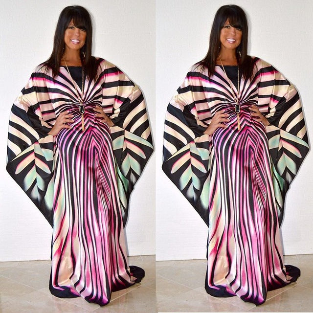 African Dresses for women dashiki clothes zebra Stripe casual Dress femme free size maxi Dresses