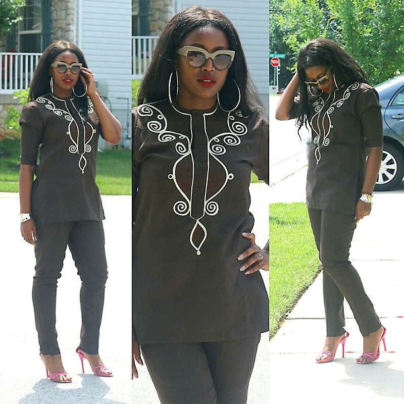 AFRICAN DRESSES FOR WOMEN SOFT MATERIAL EMBROIDERY DESIGN DRESS TOP WITH PANTS