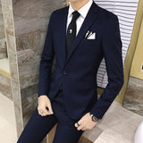 2pcs/set style Slim Black Mens suit with pants High quality wedding suits