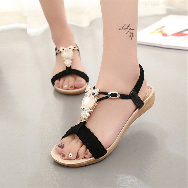 Women Sandals hot bohemia beaded owl wedge sandals women flip flop summer style