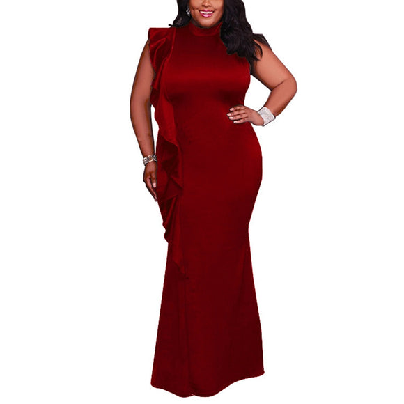 Party Dress Plus Size Elegant Evening Vestidos Chic High Neck