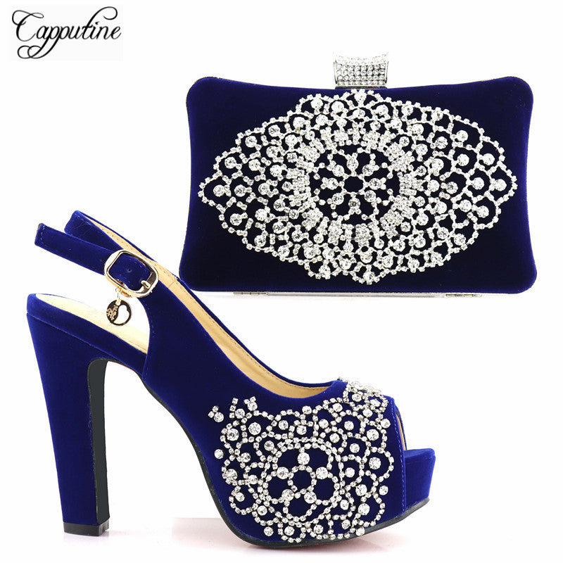 Capputine Dark Blue Color With Silver Cyrstal Italian Shoes With Matching Bag Set