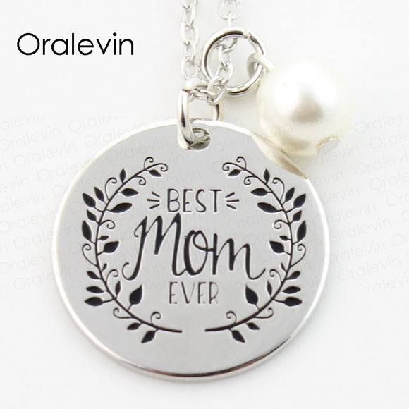 BEST MOM EVER Engraved Pendant Charms Necklace Mother Day Gift For Mother