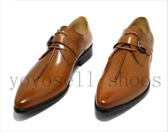 Mens Deep coffee color /Dark yellow/ black mens business dress shoes genuine leather pointed toe mens wedding shoes