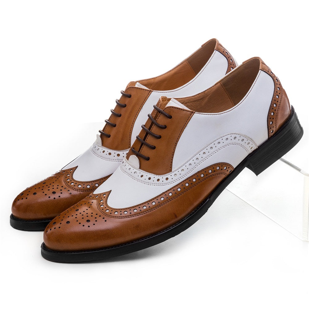 Black white / brown white mens wedding shoes genuine leather dress shoes formal oxfords shoes