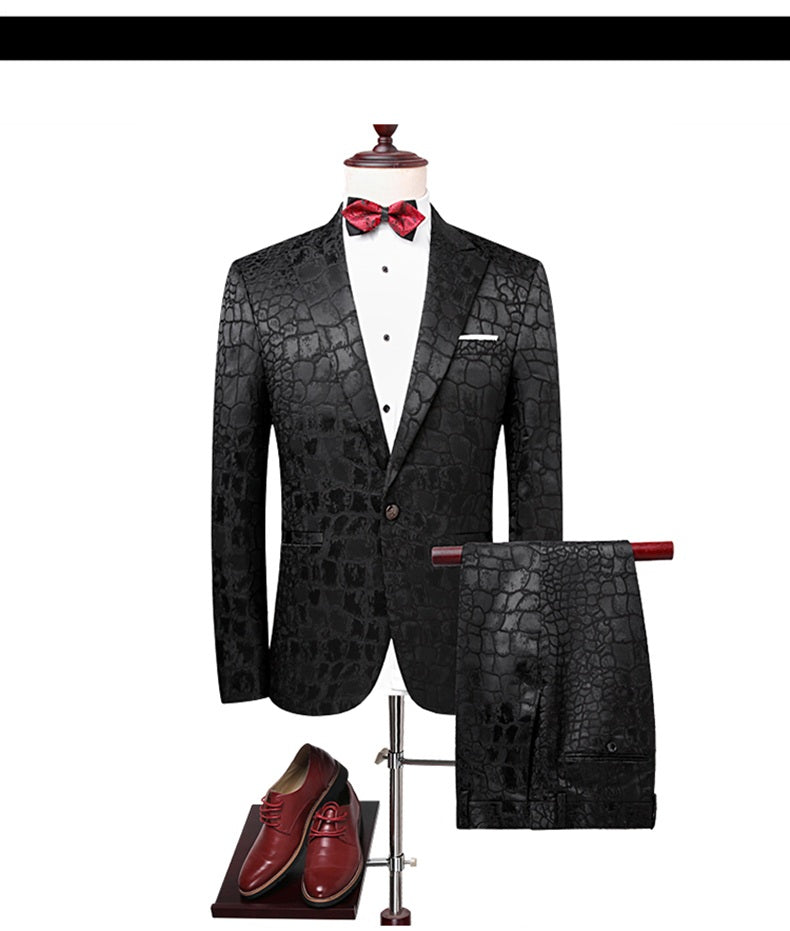 Slim Fit Crocodile Pattern Suit Men Black Fashion Night Club Mens Suits