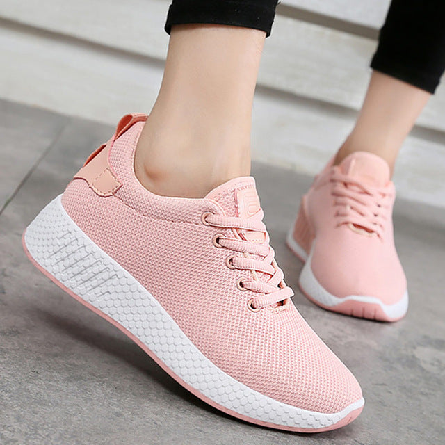 Comfortable women sneakers air mesh spring/autumn shoes solid black/white/pink female shoes