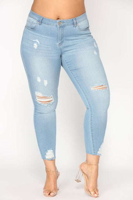 TCJULY New Design Vintage Cotton Ripped Jeans Plus Size 2XL-7XL Stretch Jeans For Women Skinny Push Up Casual Denim Pencil Pants
