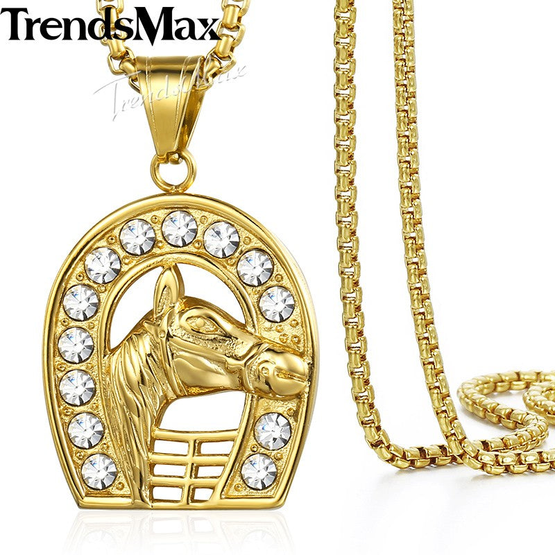 Hip Hop Iced Out Bling Full Rhinestone Horse Men's Pendant Necklaces Gold Stainless Steel Chain