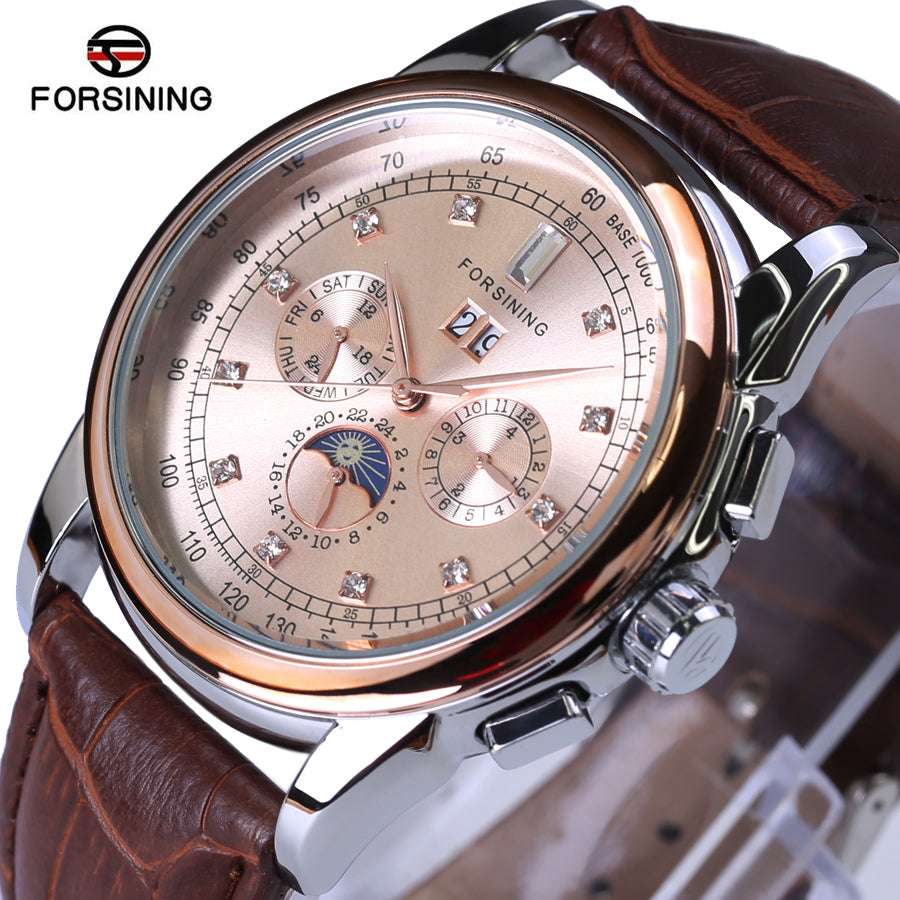 Brand Mechanical Mens Watches Top Brand Luxury Genuine Leather Waterproof Diamond Automatic Watches Men