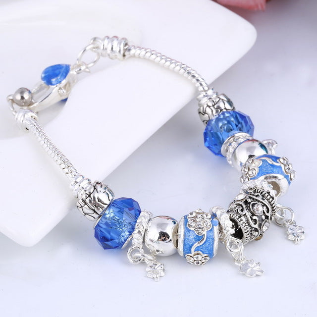 European Style Vintage Silver plated Crystal Charm Bracelet Women fit